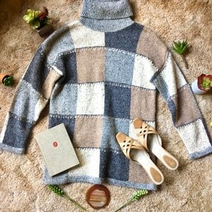 Vintage Sweaters - {Vintage} Wool Grey Color Block Turtleneck Sweater